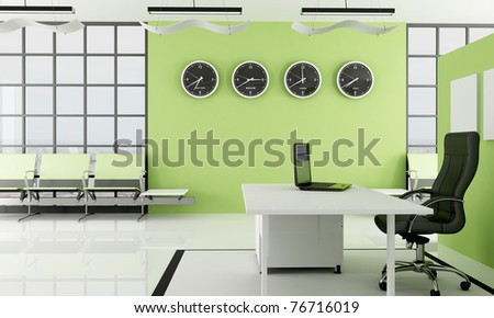 modern green  office with waiting space -rendering - the image on background is a my photo new york 2008