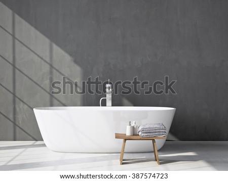 Modern grey bathroom with bathtub. 3d rendering Foto d'archivio ©