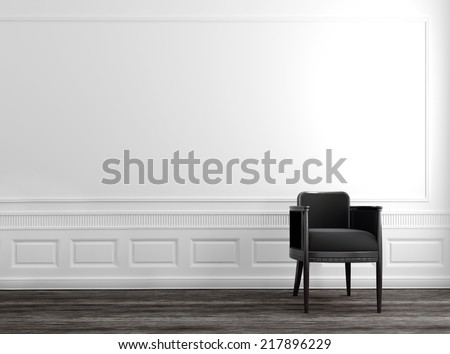 Modern Grey Chair in Upscale Luxury Home with White Walls and Wood Floor #217896229