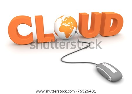 modern grey computer mouse connected to the orange word Cloud - letter O is replaced by a globe - stock photo