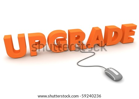 modern grey computer mouse connected to the orange word Upgrade