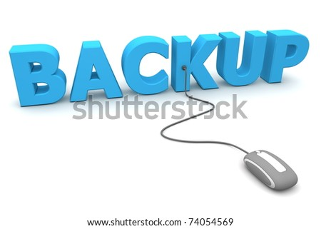 modern grey computer mouse is connected to the blue word BACKUP