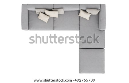 Modern Grey Fabric Sofa Isolated On White Background Top View 492765739