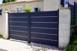 modern grey gate aluminum portal to home access