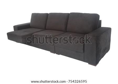 Superbe Modern Grey Graphite Suede Couch Sofa Isolated On White Background