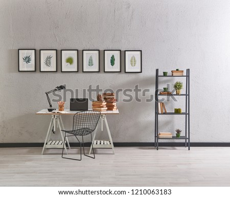 Modern grey interior room style with brick wall and furniture. Decorative home style.