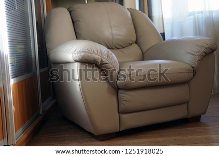 Modern grey leather luxury armchair with soft cushions #1251918025