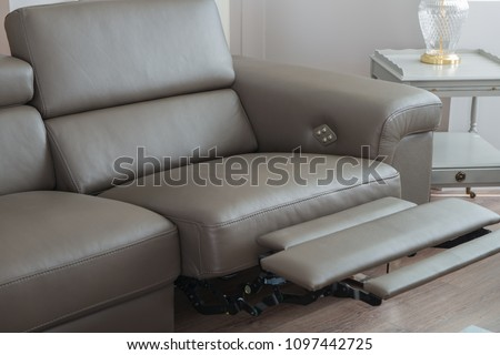 Modern Grey Leather Sofa, with recliner seat in open position. ストックフォト ©