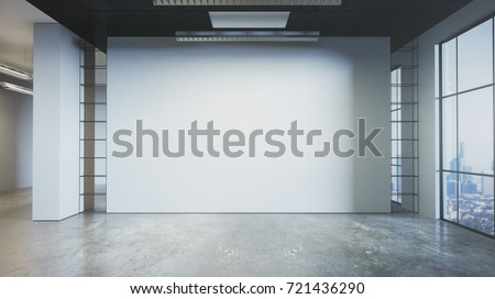 Modern grunge concrete office interior with empty wall and city view. Mock up, 3D Rendering
