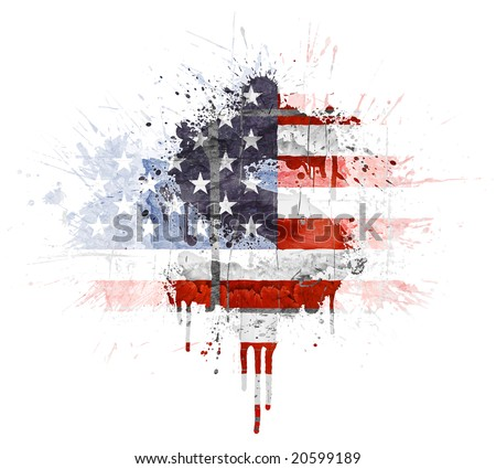 Modern grunge splatter design with American flag, Dollar symbol. Distressed grungy look with ink drop explosion.