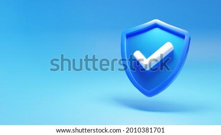 modern guard shield, 3d render illustration, 4k blue background