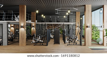 Modern gym interior with sport and fitness equipment and panoramic windows, fitness center inteior, inteior workout gym, 3d rendering