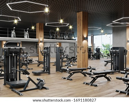 Modern gym interior with sport and fitness equipment, fitness center interior, interior workout gym, 3d rendering Stock photo ©