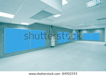 modern hall with blue placards