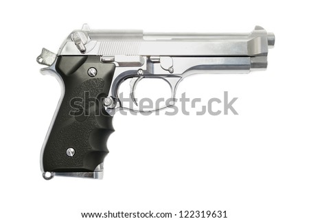 Modern handgun M9 close-up. Isolated on a white background.