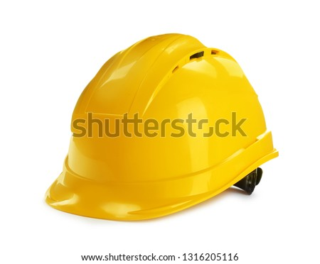 Modern hard hat isolated on white. Construction tools #1316205116