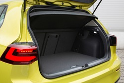 Modern hatchback car open trunk. Car boot is open for luggage