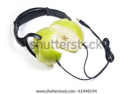 Modern headphones made of juicy fresh apples with bite