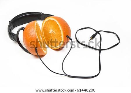 Modern headphones made of juicy fresh oranges