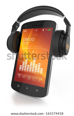 modern headphones on musical...