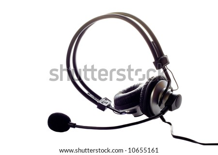 Modern headset isolated over white background