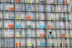 Modern hi-tech cityscape texture. Urban geometric background.