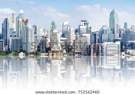 Modern high buildings, high towers in downtown landscape in Asia