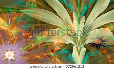 Modern high resolution flower background with large exotic looking flowers with natural looking 3D leaves and a field of smaller ones,all in glowing green,yellow,orange,pink - Shutterstock ID 372961213