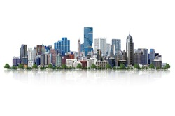 Modern high-rise buildings Isolated on white background, with clipping path.