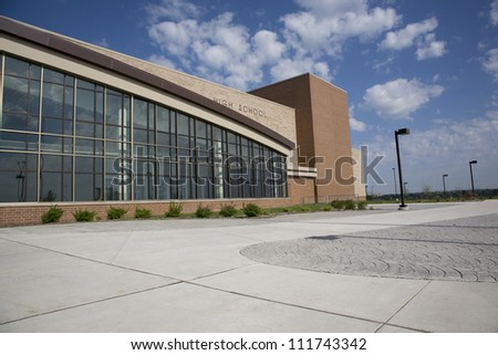 Modern high school on bright summer morning #111743342