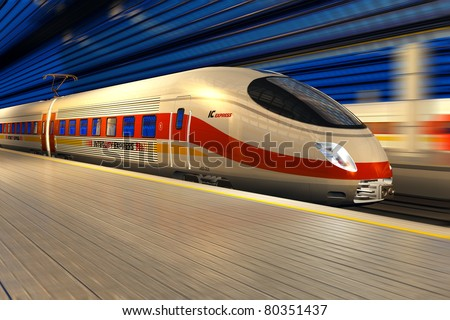Modern high speed train departs from railway station at night with motion blur effect - stock photo