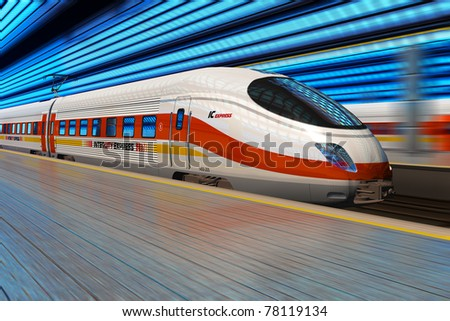 Modern high speed train departs from railway station with motion blur effect