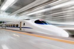 modern high speed train with motion blur