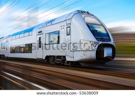 Modern high speed train with motion blur