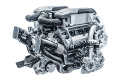 Modern high-tech and efficient engine isolated on a white background. Concept of valve maintenance and gasoline consumption