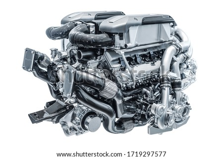 Modern high-tech and efficient engine isolated on a white background. Concept of valve maintenance and gasoline consumption Photo stock ©