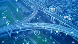 Modern highway and communication network concept. Transportation and technology. ITS (Intelligent Transport Systems). Mobility as a service.