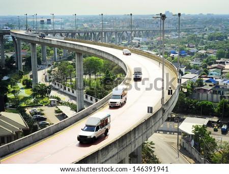 Modern highway in Bangkok, Thailand. Aerial view