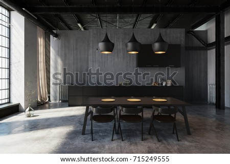 Modern hipster dining area in an industrial loft conversion with ceiling lights illuminating the table, concrete walls and large windows. 3d Rendering.