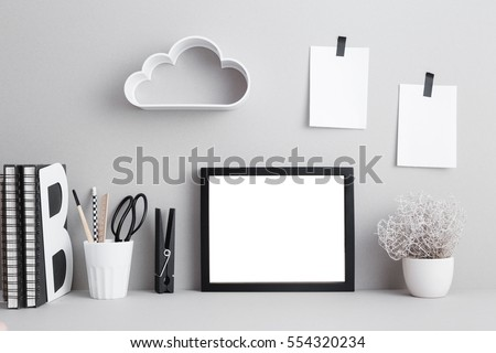 Modern home decor mock up with shelf in cloud shape on the wall.
