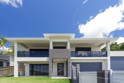 Modern home exterior on a sunny day