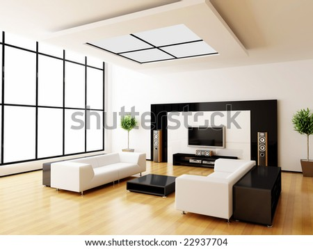 Modern Home Interior (3d Rendering) Stock Photo 2293770