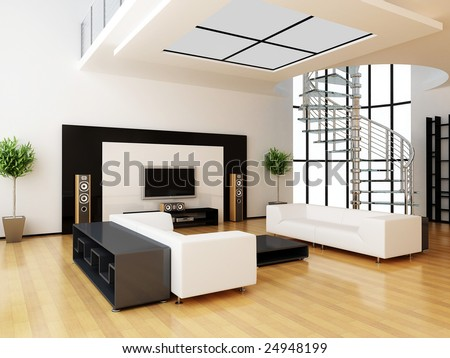 modern home interior (3d rendering)