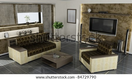 modern home interior 3d rendering. high resolution