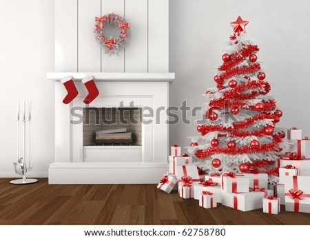 modern home interior with fireplace and christmas tree in white and red colors