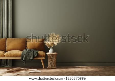 Modern home interior with rattan furniture and dry plant in vase, 3d render