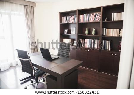 Modern Home Office With Bookshelves