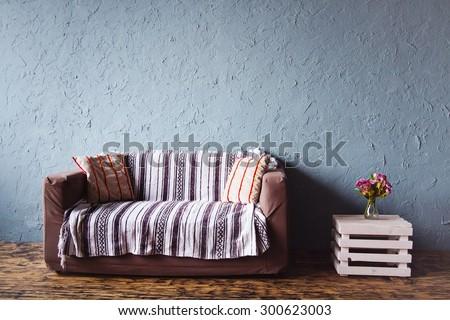 modern home stylish simple interior with sofa