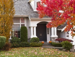 Modern home surrounded by autumn season with maple leaves on ground and trees turning bright colors