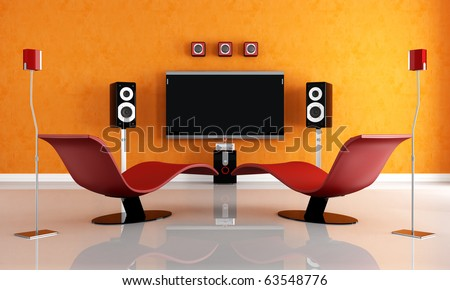 modern home theater with two fashion armchair - rendering